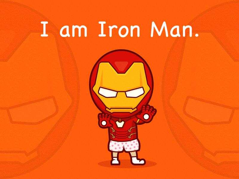 I am Iron Man avengers marvel cartoon icon design character 2d illustration iron man