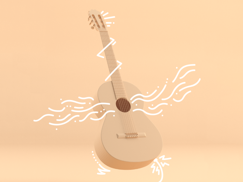 Guitar Doodle acoustic musician hobby lineart doodle guitar music design illustration cinema 4d