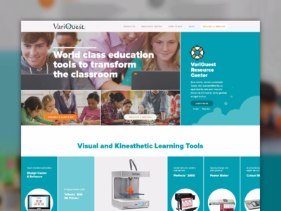 VariQuest Website Concept tools product school learning landing home desktop concept website made with invision