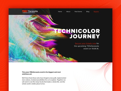 TEDxSarasota Website home technicolor hero grid clean sarasota event design mockup desktop website ted