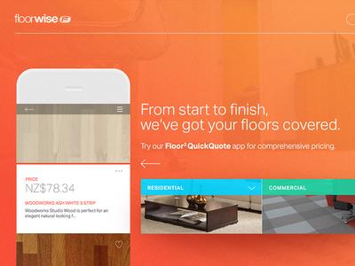 Floorwise Landing Page product landing home ui design desktop floor quote web