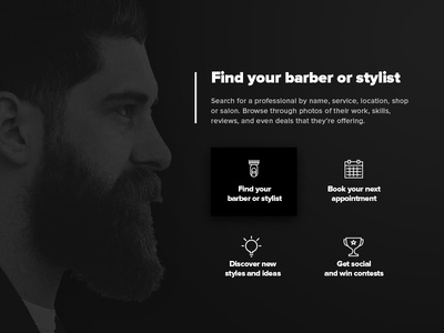 App Landing Page icon ios barber style ux ui home website mobile landing app