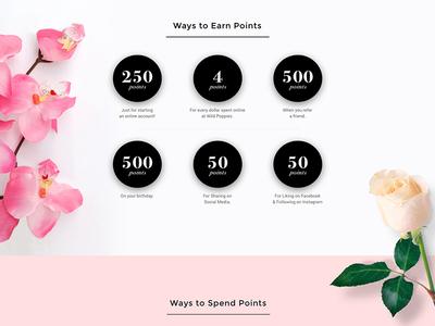 Wild Poppies Loyalty Program tulip rose flower desktop product website points rewards loyalty page landing