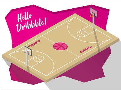 Hello Dribbble! first shot basketball flat design flat dribbble debut debut
