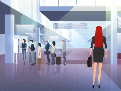 Airport redhead trip travel adobe illustrator gradient people couple suitcase queue businesswoman airport illustration characterdesign