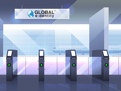 Airport gates interior gradients gates plain airport illustration