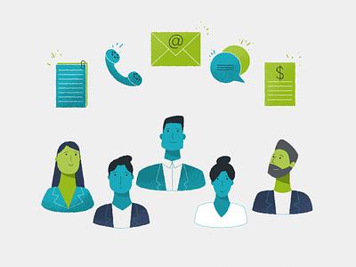 Team2 teamwork team diversity documents money chat message envelope peoples character characterdesign illustration
