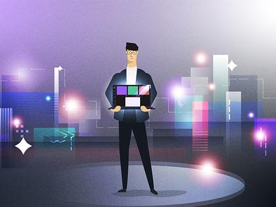 Marketer lights city marketer marketing characterdesign illustration