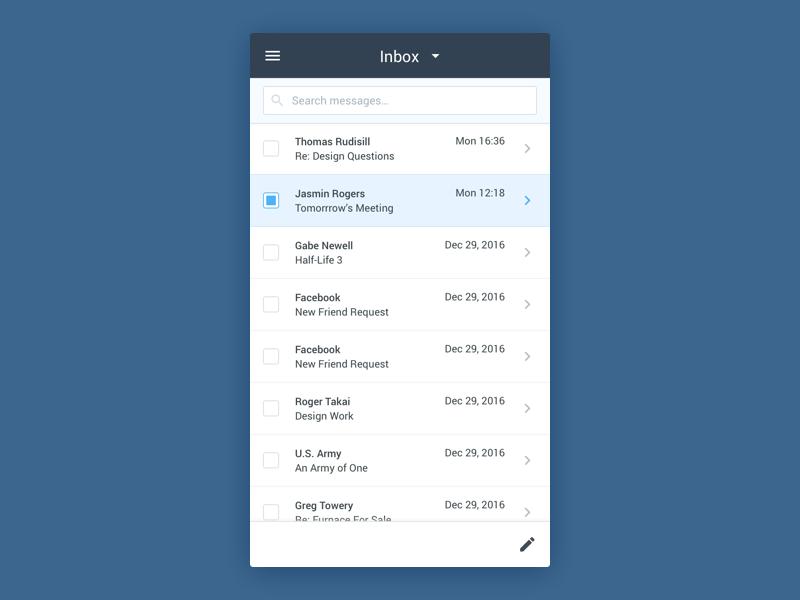 Roundcube - Mobile Webmail by John Jackson on Dribbble
