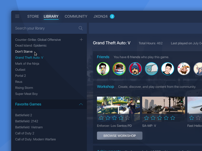 Steam - Blue Minimal Theme minimal user interface ui steam