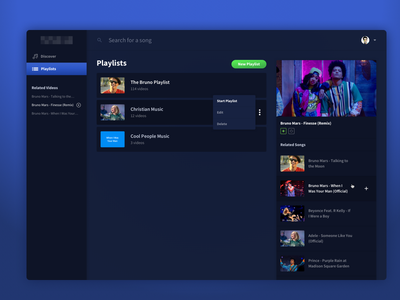 YouTube Playlist Manager - Playlists dark ui video manager youtube playlist