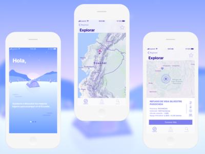 Camping Locator - Ecuador mobile design illustration