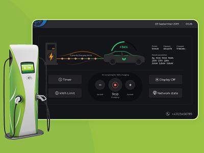 EV Charging stations power flat homepage ui ux charging minimal design station