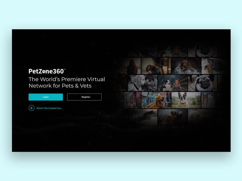 Petzone360 Landing Page landingpage flat ux ui minimal design collage dark theme vets animals pets homepage landing page