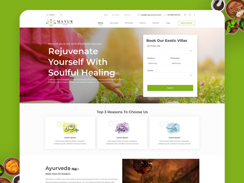 Ayurveda website design booking colorful icons green landing page design home screen ayurveda