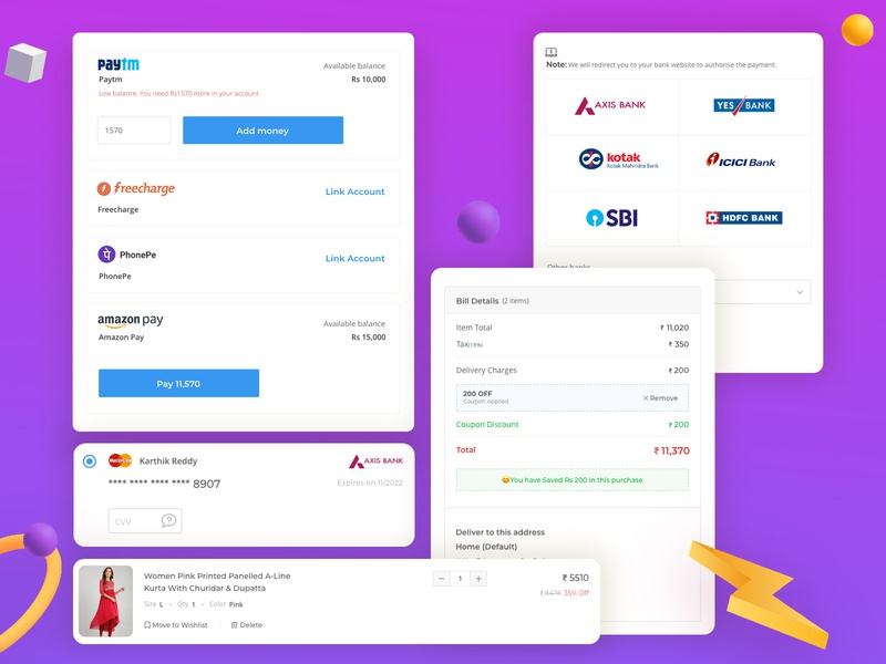 UI Elements - Checkout ecommerce branding flat ux minimal design elements ui checkout page discount cards ui delivery banking payments checkout