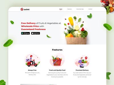 Zasket online super market illustraion icons features website design groceries vegetable fresh colors ux ui design minimal langing page