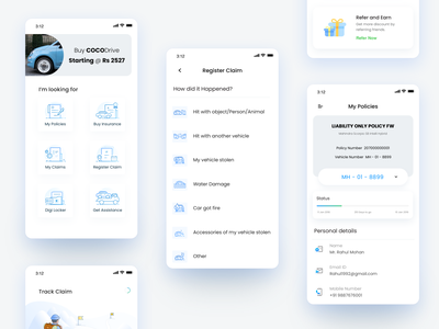 Insurance app Wireframe xcarbon dribbble ui design outline flat illustration wireframes onboarding refer and earn health bike car vehicle track claim digital buy insurance my policy insuracce