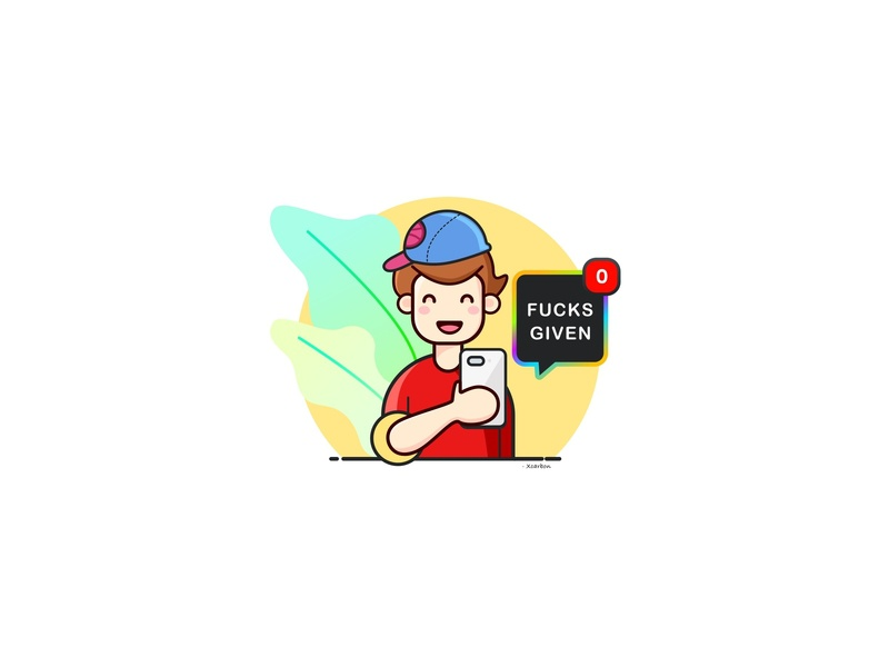 Xcarbon_DribbbleShot_01 fucksgiven fuck red onboarding sarcastic outline avatar colour platoff playing texting boy vector flat icon illustation sketch character hello dribbble stiker