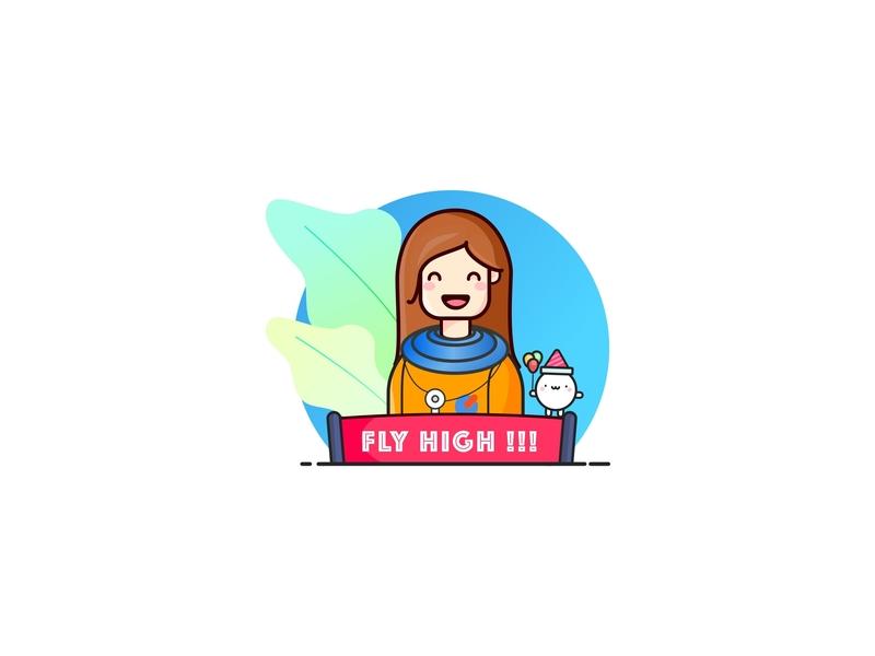 Fly High !!! xcarbon pink orange inspiration achievement happy drems women womens day identity ui hello dribbble icon illustation design flat character astronaut avatar stickers