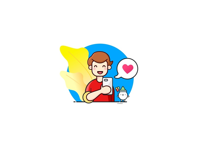 Love it!!! happy playing outline vector icon sketch illustration stiker sarcastic blue and red hello dribble chating texting flat onboarding boy design character love avatar
