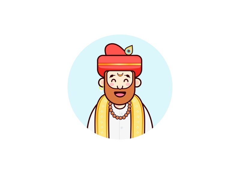 Avatar_Pune ui logo happy dribbble onbording sarcastic maharashtra pune profile image icon vector man coolcolours outline illustration charactor pandit culture india avatar