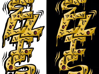 Cheezy Dripz cheesy drippy drips ipad pro hand drawn pizza illustration procreate lettering