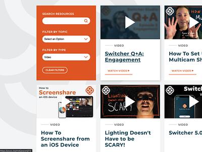Resource Center filtering filters montserrat resources card website design site design site website