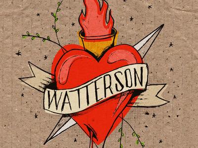 Watterson sacred heart heart sacred compass texture cardboard flash tattoo album