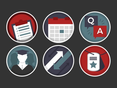 Education Icons faq dog tags calendar clipboard graduate school education iconography flat icons