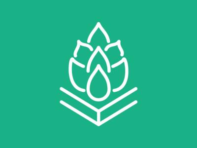 Brew + Reads green logo hop