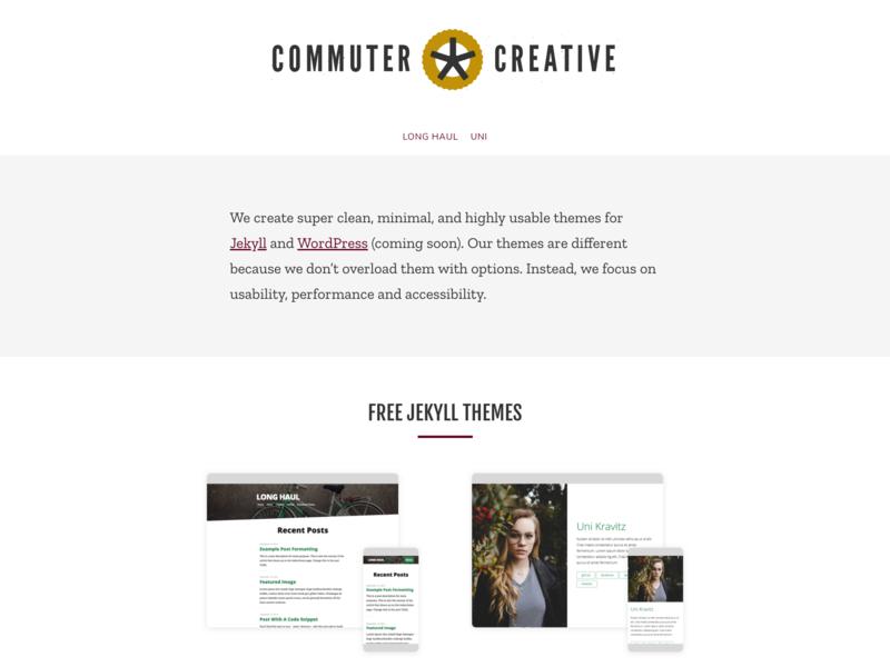 Commuter Creative landing page blog grey white bicycle wordpress jekyll themes desktop wesbite