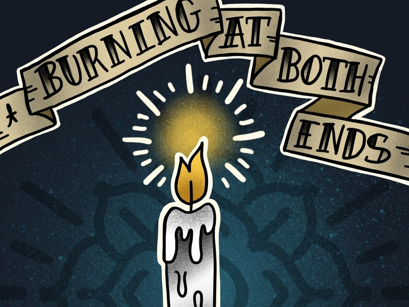 Burning at both ends lettering banner tattoo flash tattoo illustration procreate candle
