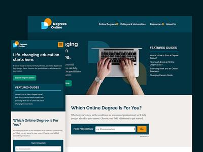 DegreesOnline.com bio sans raleway flat desktop mobile online bubble branding website design site website