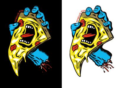 Pizza Hand shirt design pizzeria hand pizza skateboarding skateboard illustration procreate screaming hand santa cruz