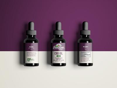 Great River Bottle Design hemp weed ohio purple logo bottle mockup bottle label bottle design dropper bottle cdb