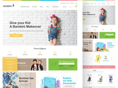 Kids Clothing Store landing page design website design ecommerce store clothing store kids store