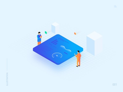 Illustration isometric people data chart graph dashboard ui analytics