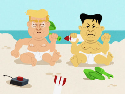 Crybabies animation aftereffects sandbox fight sketch illustration character missile nuke nuclear tank babies vector cartoon war rocket kim kimjongun donaldtrump trump