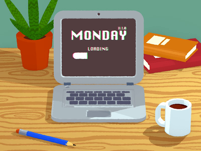 Monday start-up issues toonshader render keyframes laptop motiongraphic interface ux ui lowpoly element3d sketchup animation 3d cartoon illustration