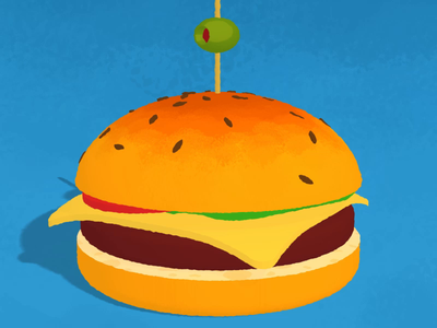 3D burger animation flat design sketchup texture cheeseburger burger element3d after effects drawing animation cartoon illustration 3d art
