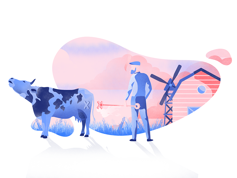 Branding illustration pink red blue illustration mooing texture farm farmer cow branding