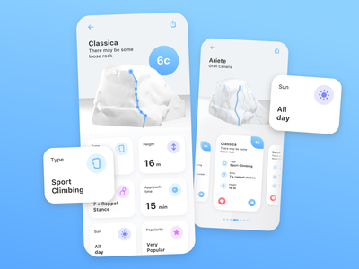 Climbing Topo App rock climbing white uidesign interaction design mobile ui ui  ux ui design uiux product mobile application 3d sport topo climber mobile app design mobile design mobile app climbing product design ui