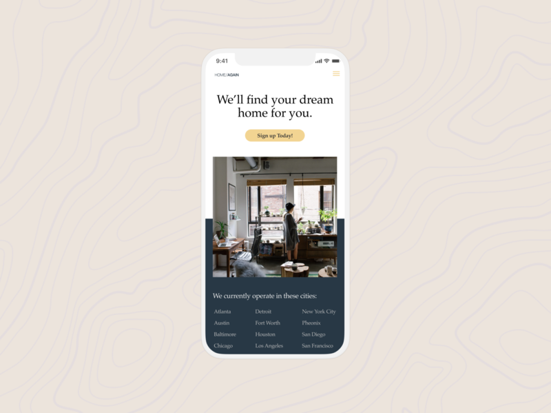 Home Again Conceptual ui marketing uxui dailyui iphone landing page ux mobile