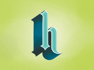 H is for Hello.  typography line gothic serif type custom lettering