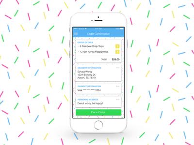 Rainbow Drop Tops confirm order app ios mobile ux ui