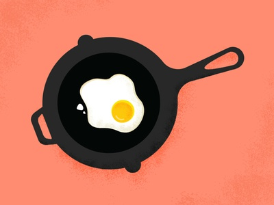 Can I add a fried egg, please? illustration cast iron eggs