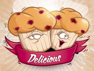 Delicious raspberry muffins delicious raspberry muffins cybe cybirds illustration recipe