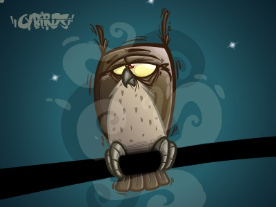 Owl night long owl vector illustration character cybe cybirds illustrator