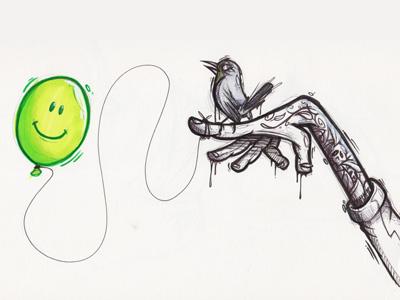 Ballon Hand ballon hand bird tattoo sketch character drawing cybe cybirds
